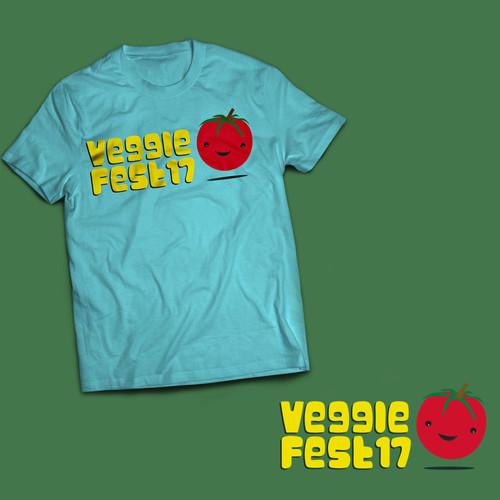 Veggie fest T-shirt concept illustration.