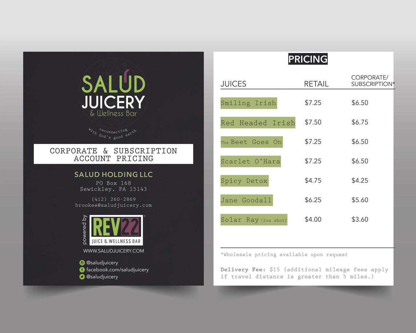 Salud Juicery pricing menu design mock-up