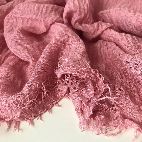 Premium Crimped Cotton Hijab - Dusty Pink