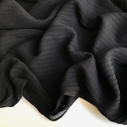 Pleated Chiffon Hijab - Black