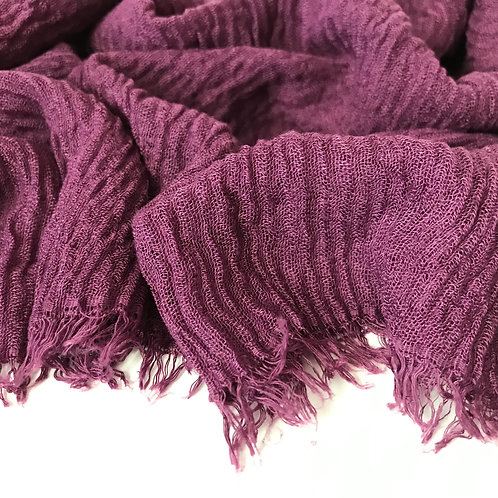 Premium Crimped Cotton Hijab - Grape