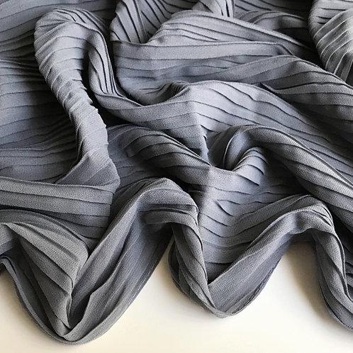 Pleated Chiffon Hijab - Grey