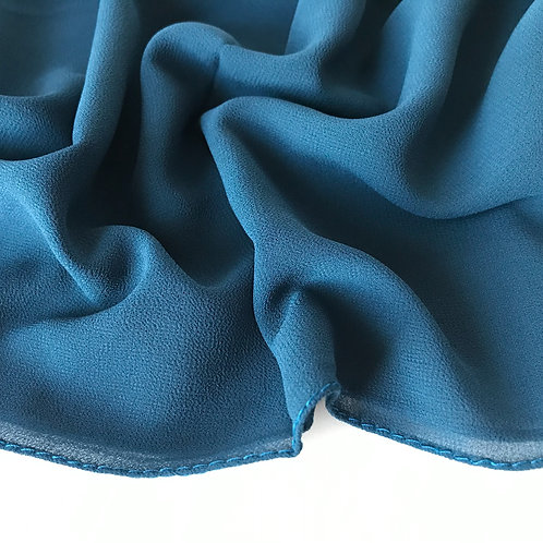 Teal chiffon hijab close up