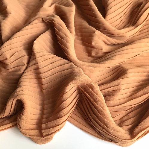 Pleated Chiffon Hijab - Tan
