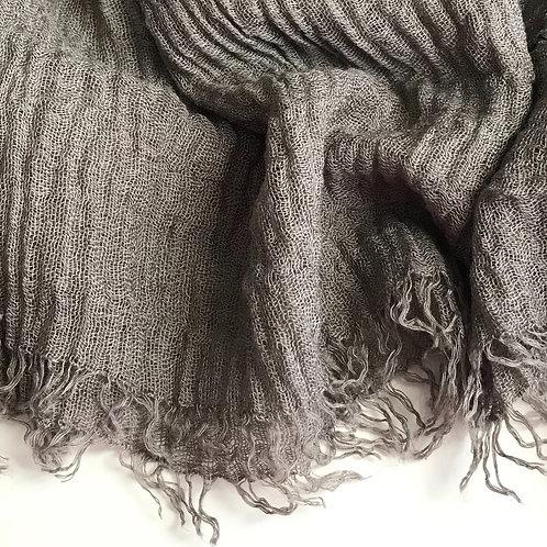 Premium Crimped Cotton Hijab - Ash Grey