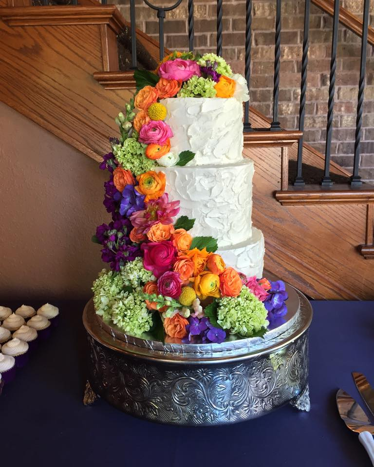 Rainbow Rustic Buttercream Cake