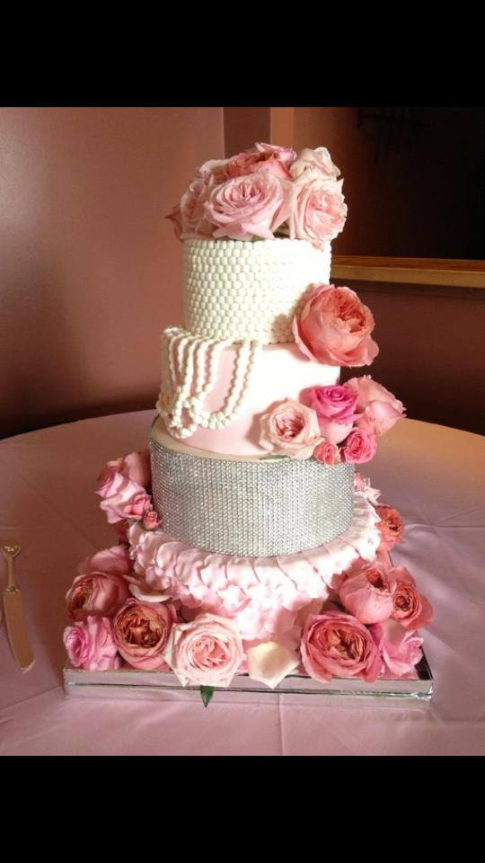 Glam Pearl Blush Bling Cake