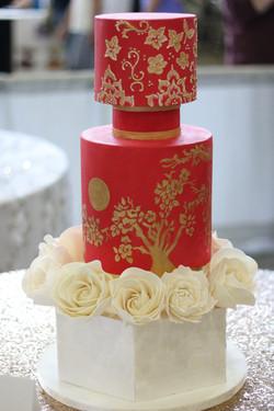 Red Oriental Wedding Cake