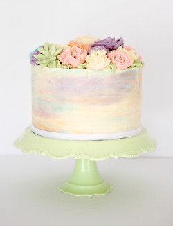 All Buttercream Floral Cake