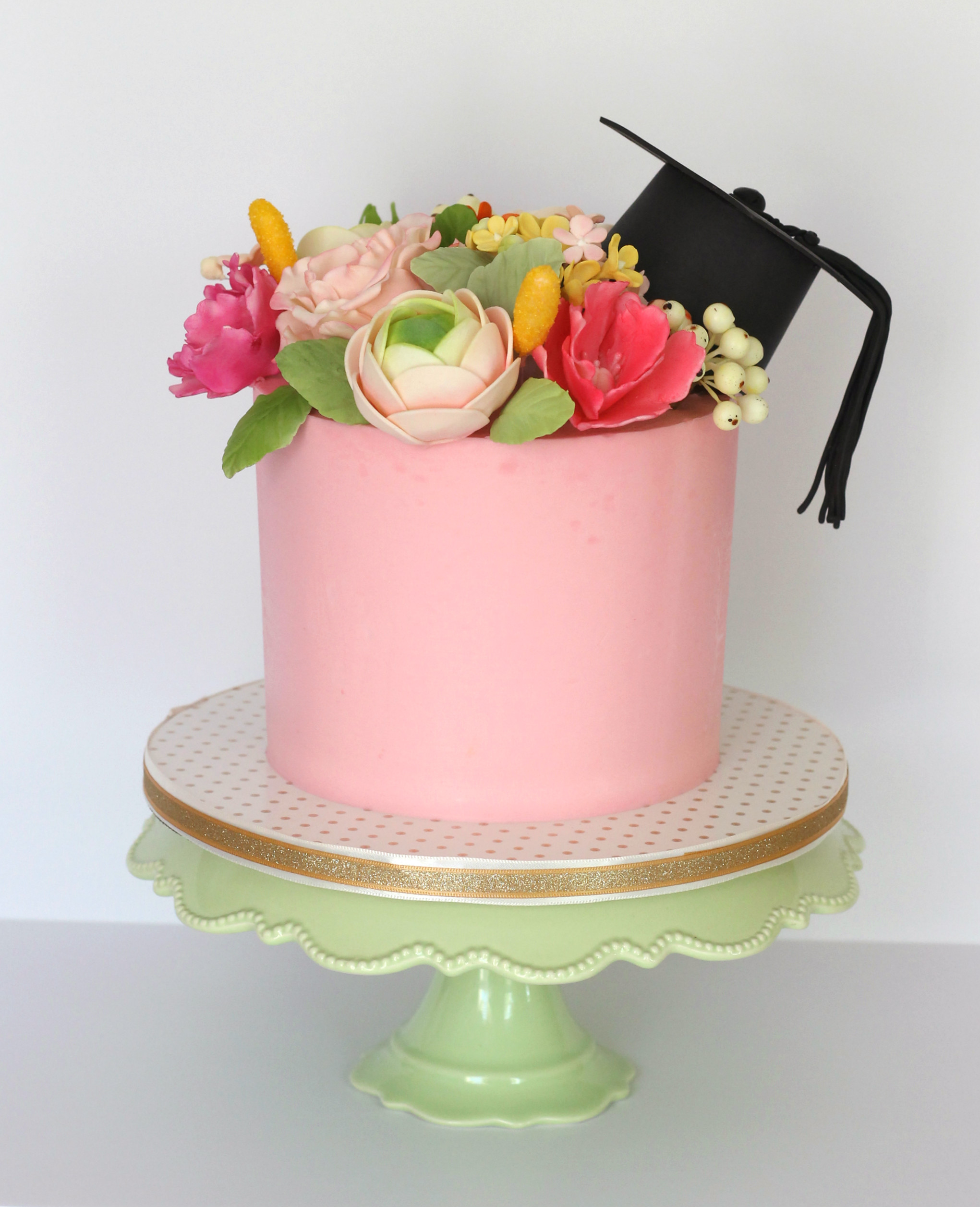 Graduation Cake with Sugar Flowers