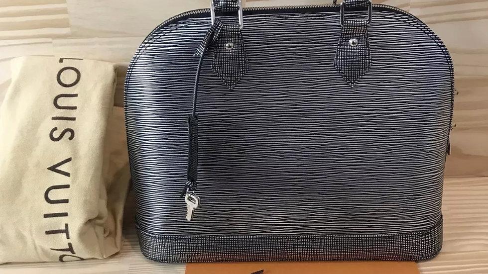 AUTH Louis Vuitton Alma Epi Black Silver Tote Bag