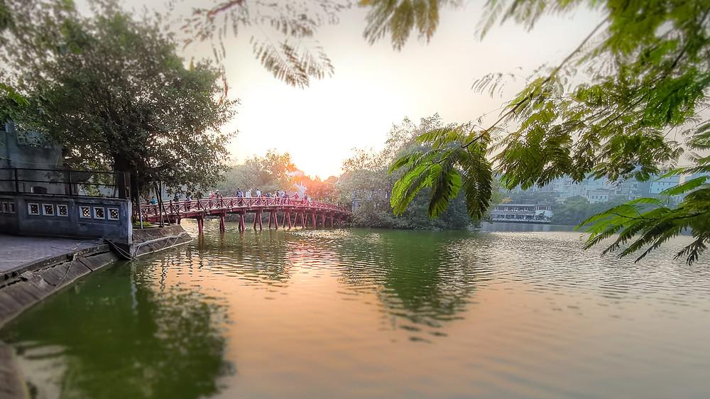 Huc Bridge on Hoan Kiem Lake