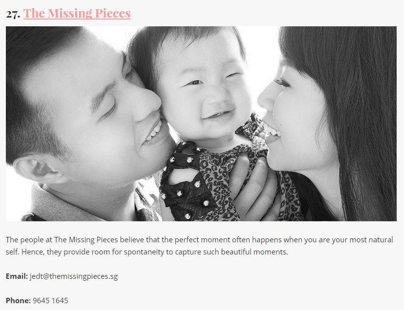 The Missing Pieces - One of the best maternity, baby and family photographers in Singapore!!