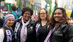 Members of the Xi Theta Chapter in #Raleigh marching for women's equality