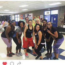 The Beta chapter, past and present, showing love and support at Zumbathon