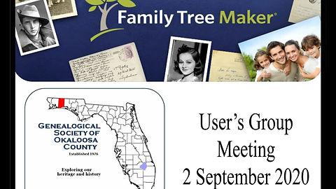 GSOC Family Tree Maker User's Group 2 Sep 2020