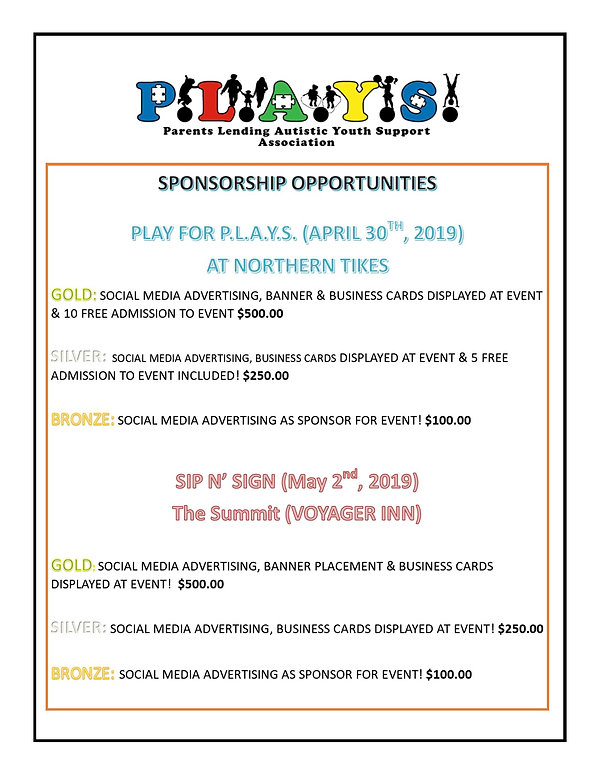 Sponsorship Play for Plays and Sip n Sig