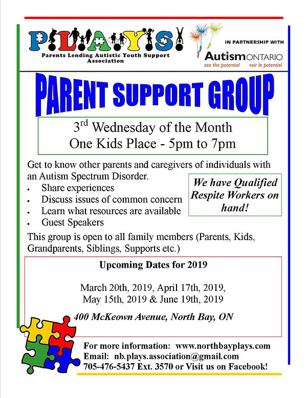 Parent Support Group Meeting Poster 2019