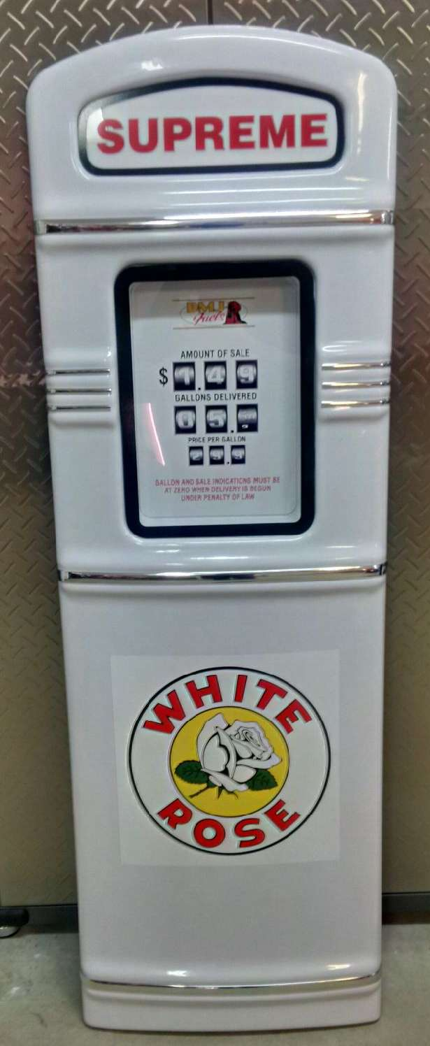 White Rose gas pump with chrome trim