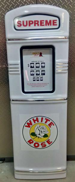 White Rose gas pump with chrome trim