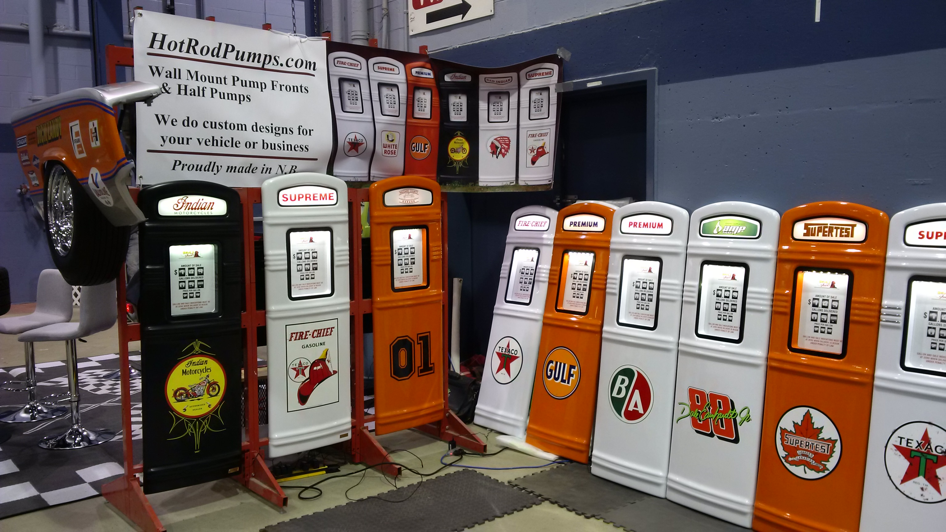 Gas pumps on display