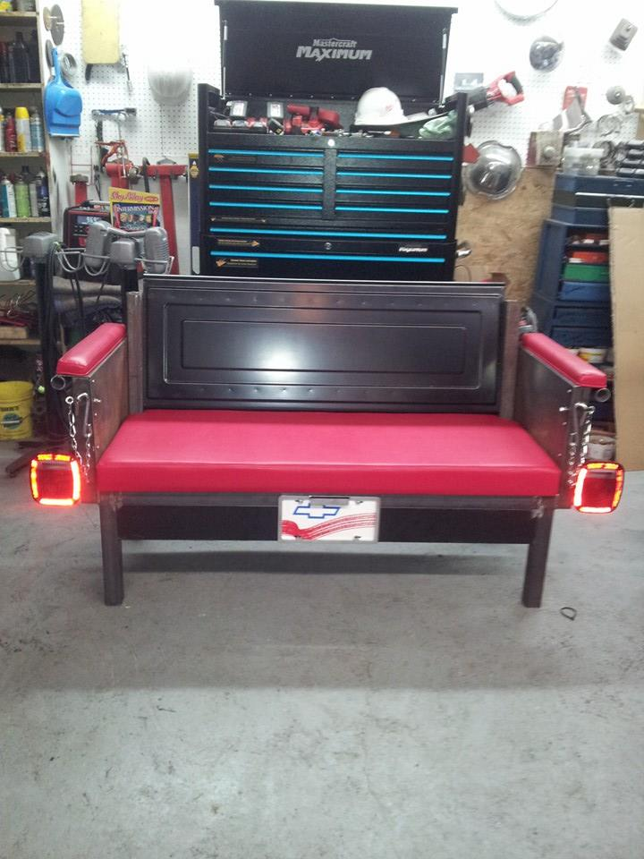 Custom tailgate bench seat with tail lights