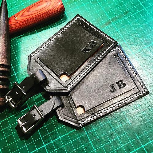 Personalised genuine leather luggage tag