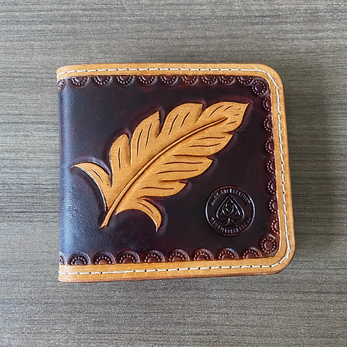 Leather money clip wallet - Eagle feather