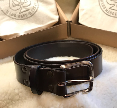 English Bridle Leather Belt - Dark Brown with Nickel Buckle
