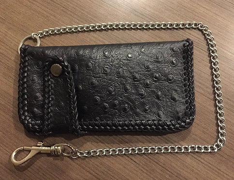 Lace Edge Biker Wallet with Chain