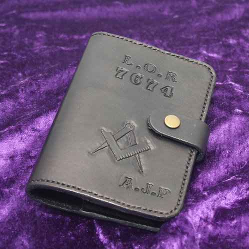 Handmade Leather Masonic Ritual Book Cover - Personalised