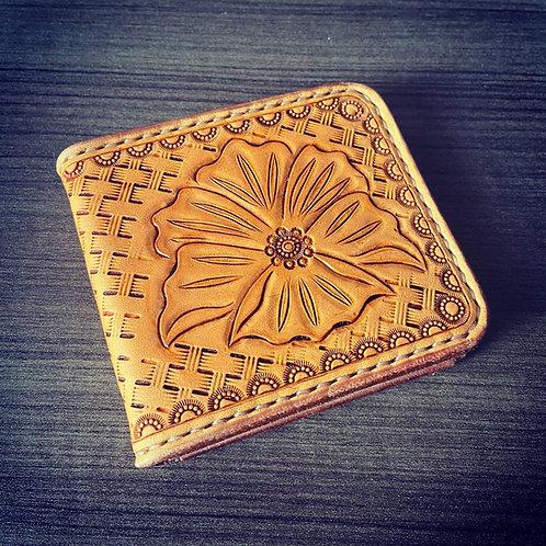 Leather money clip wallet - Floral/basket weave