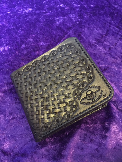 Bill fold Wallet - Hand tooled - Black