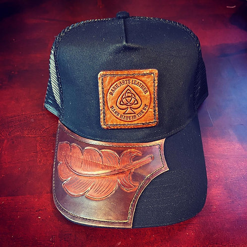 Trucker Cap with leather peak & Patch - feather