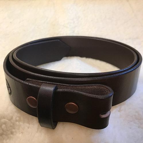 English Bridle Leather Belt Strap - Dark Brown