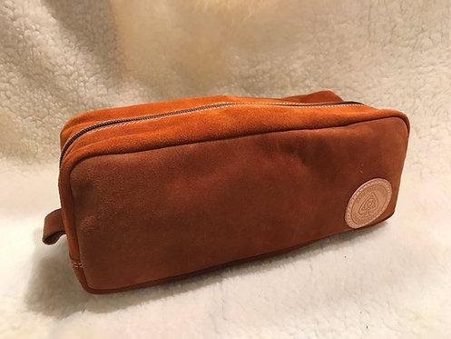 Handmade suede Wash bag / Dopp kit