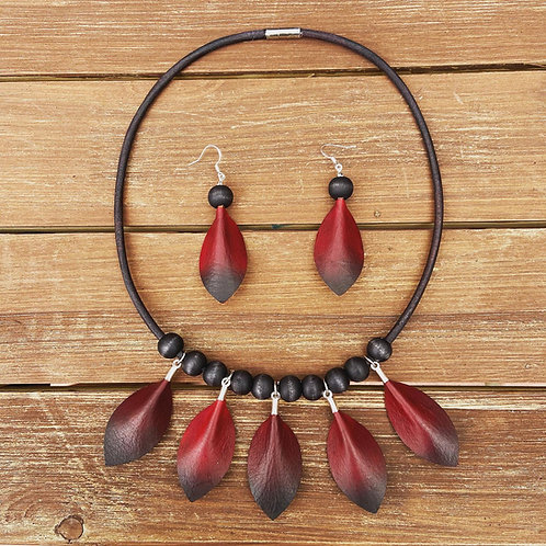 Handmade Leather Necklace &  Earring Set