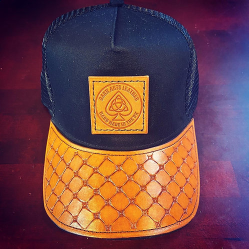 Trucker Cap with leather peak & Patch - Chesterfield