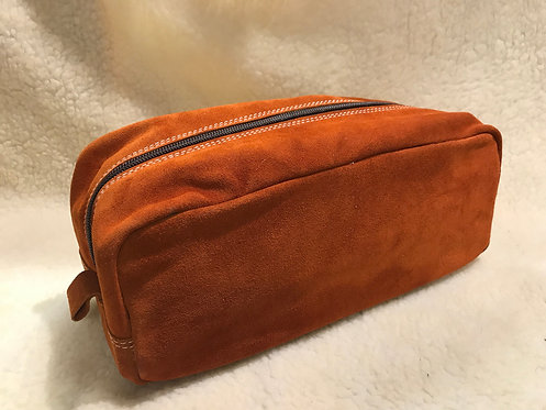 Handmade suede Wash bag / Dopp kit