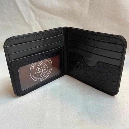 Bill fold Card to Wallet - Ostrich effect - Black