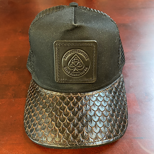 Trucker Cap with leather peak & Patch - Dragon Skin