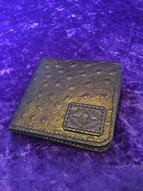 Bill fold Card to Wallet - Ostrich - Purple sheen