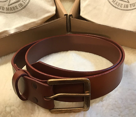 English Bridle Leather Belt - Saddle Tan with Brass Buckle