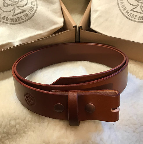 English Bridle Leather Belt Strap - Saddle Tan