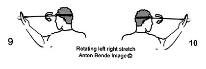 Handheld neck & shoulder gym; Rotating left & right stretch