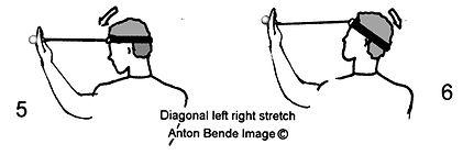 Handheld neck & shoulder gym; Diagonal left right stretch