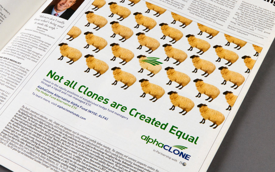 AlphaClone print ad