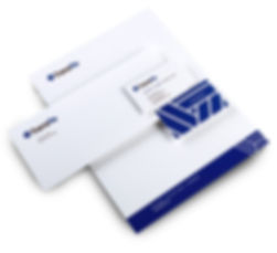 TransRe letterhead, envelope, business cards