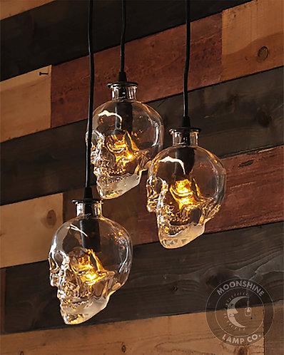 Glass Skull 3 Light Pendant
