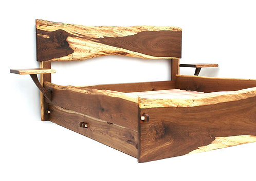 Live Edge Bed w/Drawers and Side Tables